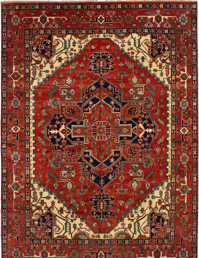 Hand-knotted Indian Bohemian  Traditional Serapi-Heritage Area rug  Dark Copper 10 x 13.1