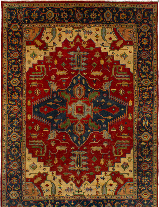Hand-knotted Indian Bohemian  Traditional Serapi-Heritage Area rug  Red 10 x 14