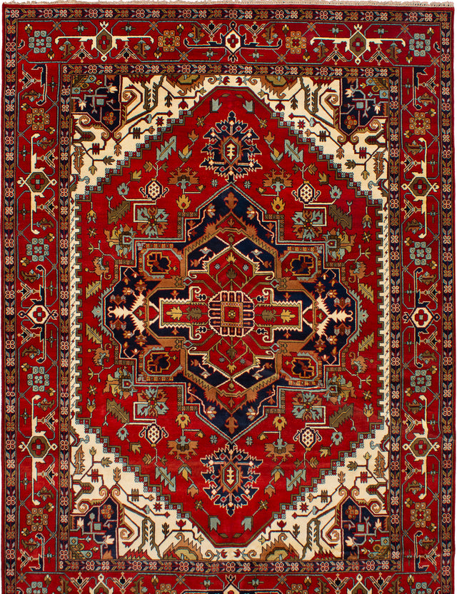 Hand-knotted Indian Bohemian  Traditional Serapi-Heritage Area rug  Dark Red 10.2 x 14.2
