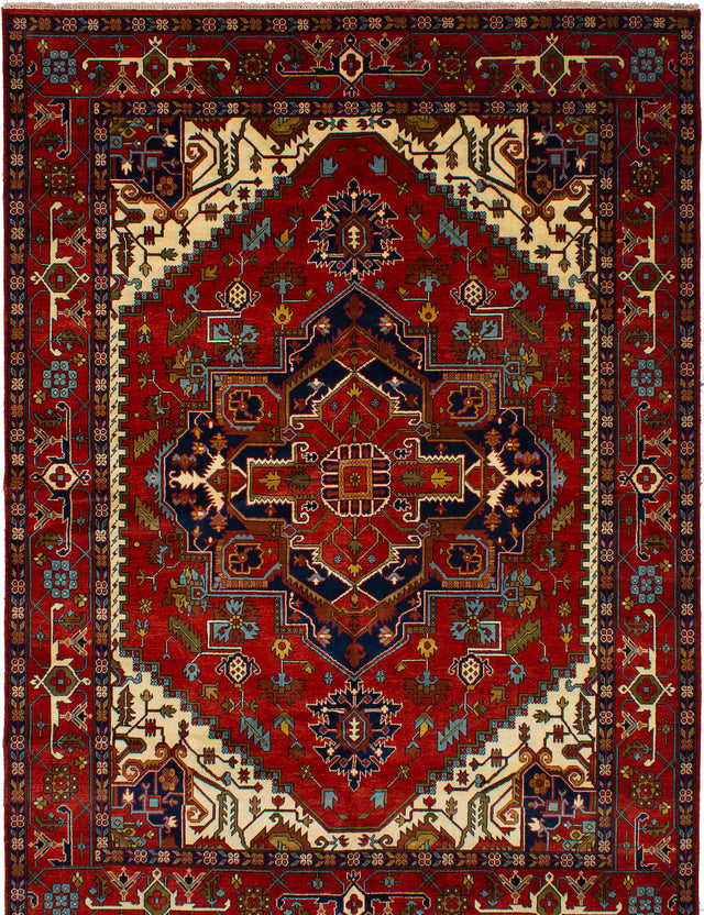 Hand-knotted Indian Bohemian  Traditional Serapi-Heritage Area rug  Dark Red 10.2 x 13.1