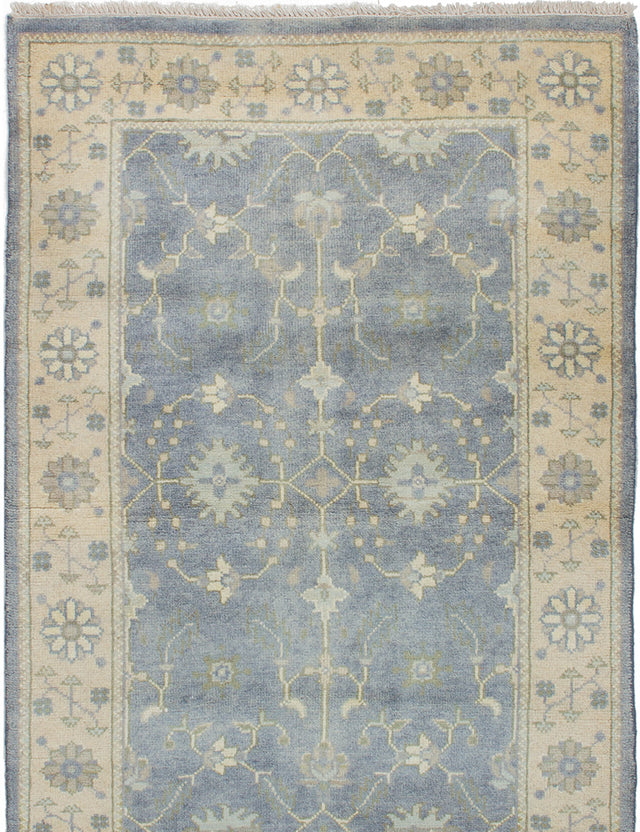 Hand-knotted Area rug Bohemian, Bordered, Traditional Grey