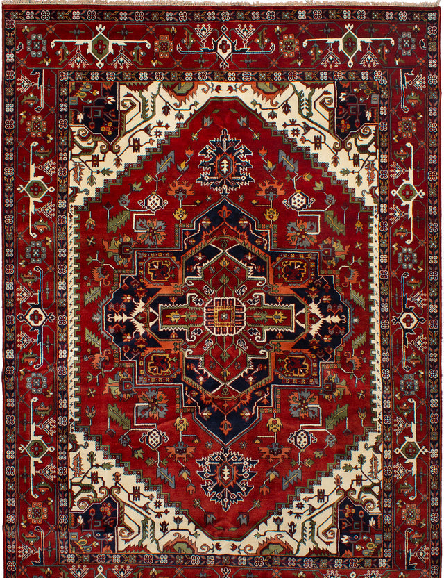 Hand-knotted Indian Bohemian  Traditional Serapi-Heritage Area rug  Dark Red 10.1 x 14.4