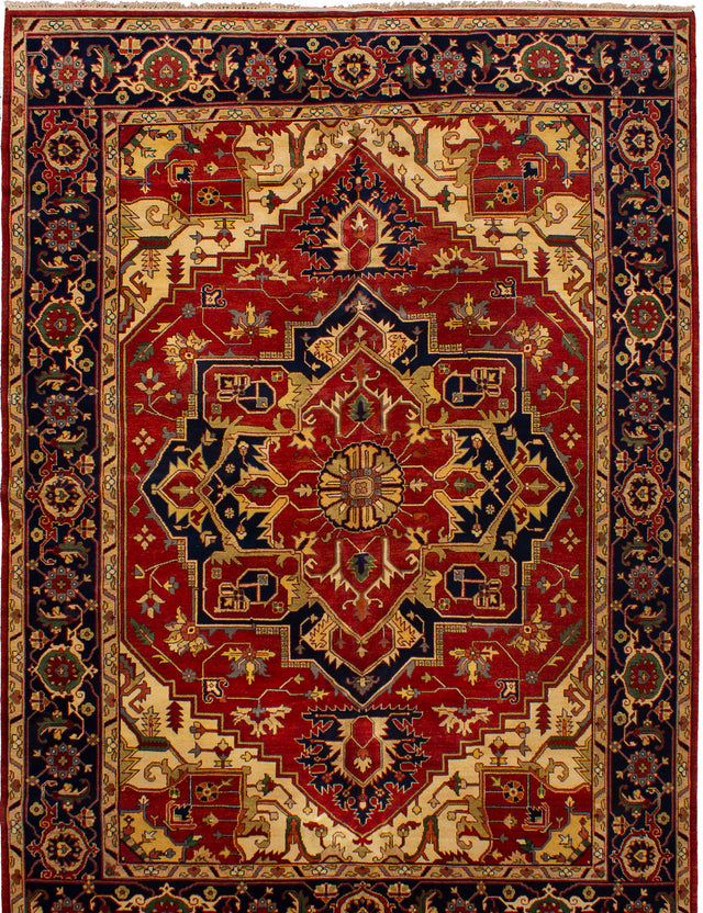 Hand-knotted Indian Bohemian  Traditional Serapi-Heritage Area rug  Dark Copper 10.1 x 14
