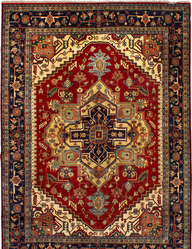 Hand-knotted Indian Bohemian  Traditional Serapi-Heritage Area rug  Dark Red 10.1 x 14.2
