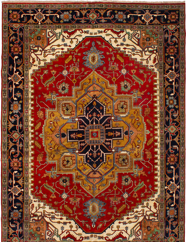 Hand-knotted Indian Bohemian  Traditional Serapi-Heritage Area rug  Dark Red 9.9 x 14.5