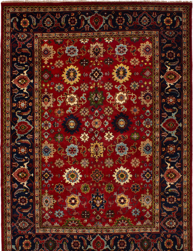 Hand-knotted Indian Bohemian  Traditional Serapi-Heritage Area rug  Dark Red 10.1 x 14.1