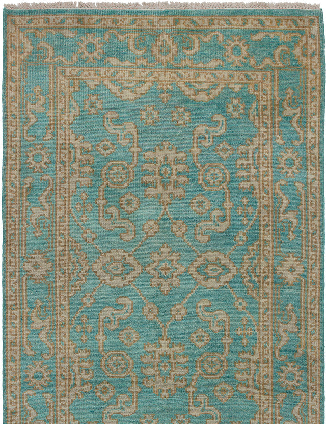 Hand-knotted Area rug Bohemian, Bordered, Traditional Green