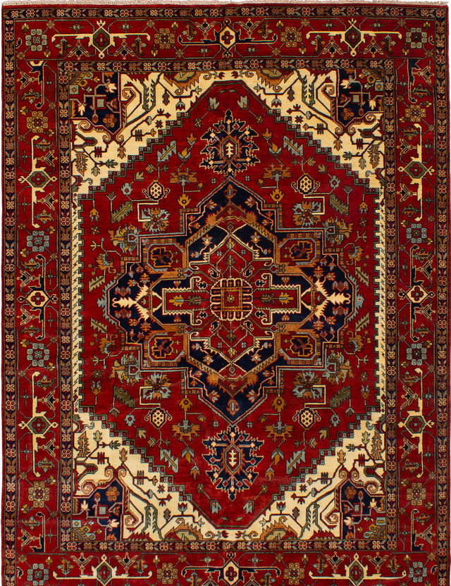 Hand-knotted Indian Bohemian  Traditional Serapi-Heritage Area rug  Dark Red 10.1 x 13.1
