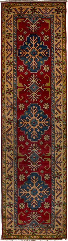 Hand-knotted Area rug Bohemian, Bordered, Geometric Red