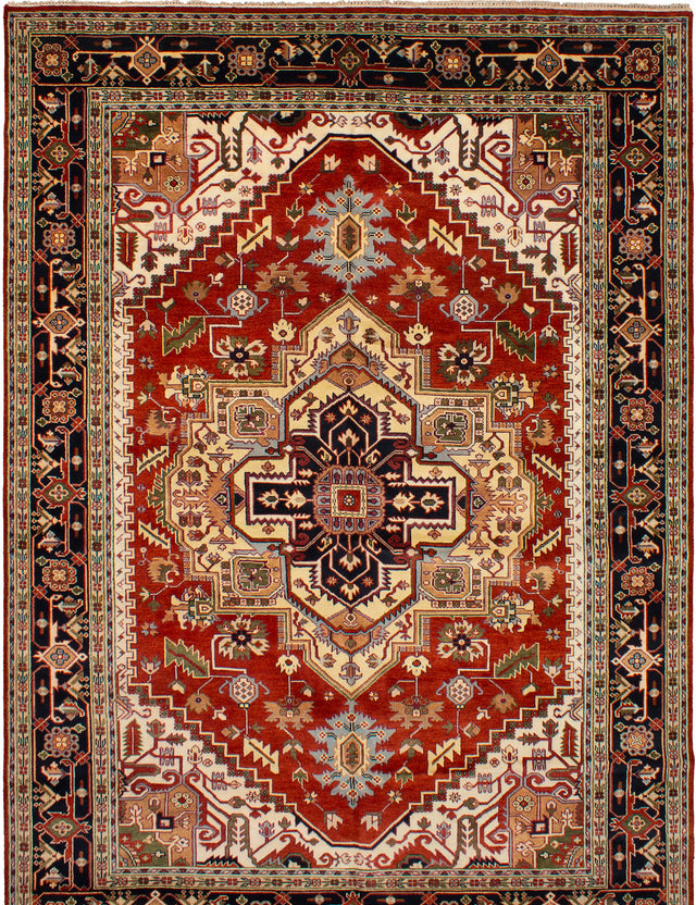 Hand-knotted Indian Bohemian  Traditional Serapi-Heritage Area rug  Dark Red 10 x 14