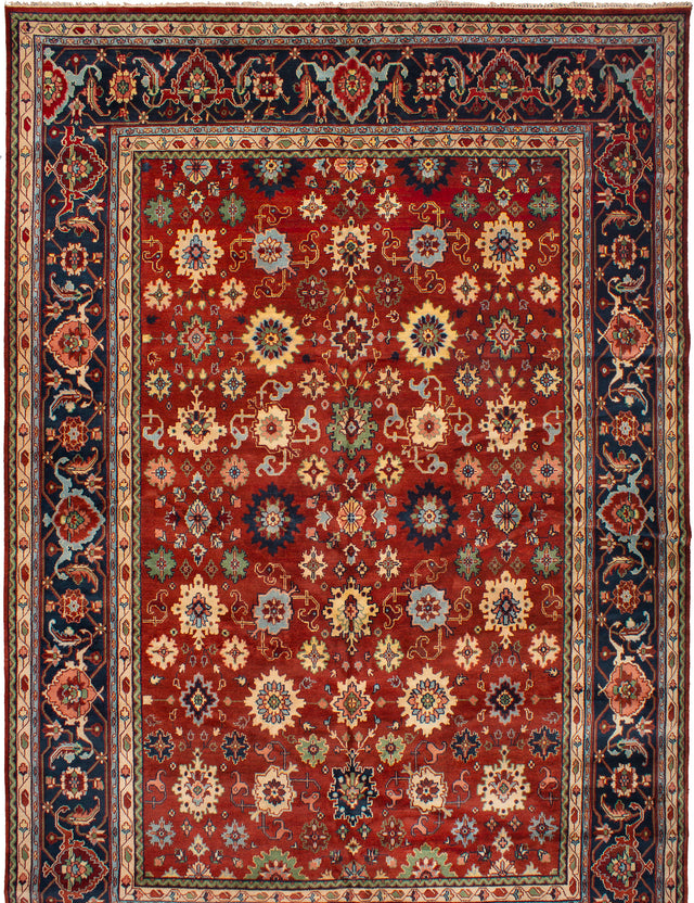 Hand-knotted Indian Bohemian  Traditional Serapi-Heritage Area rug  Dark Red 12 x 17.1