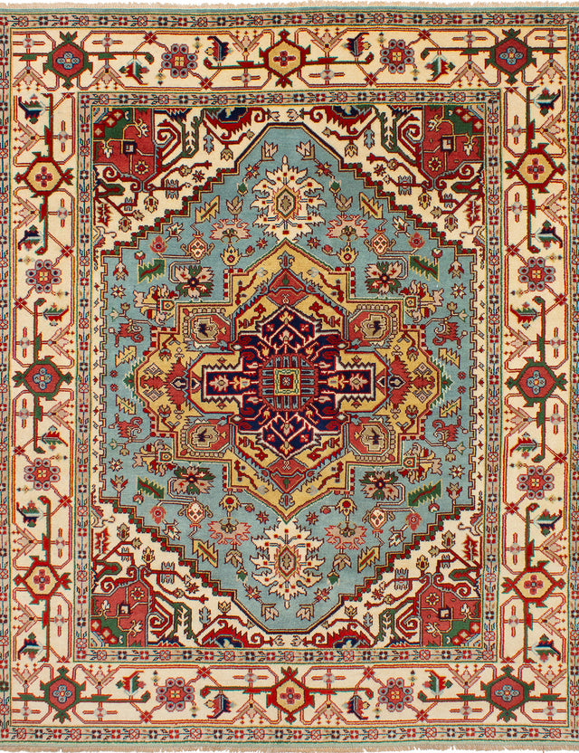 Hand-knotted Area rug Bohemian, Bordered, Traditional Blue