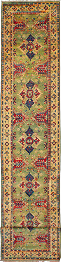 Hand-knotted Area rug Bohemian, Bordered, Geometric Green