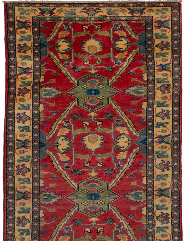 Hand-knotted Afghan Bohemian  Traditional Finest-Gazni Runner rug  Red 2.5 x 19.5