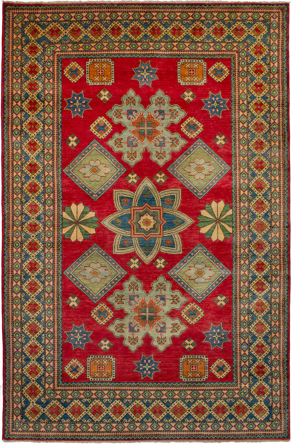 Hand-knotted Area rug Bohemian, Bordered, Traditional Red