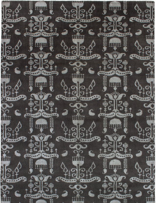 Hand-knotted Indian Casual  Contemporary Luribaft-Gabbeh-Riz Area rug  Dark Grey 5.5 x 7.1