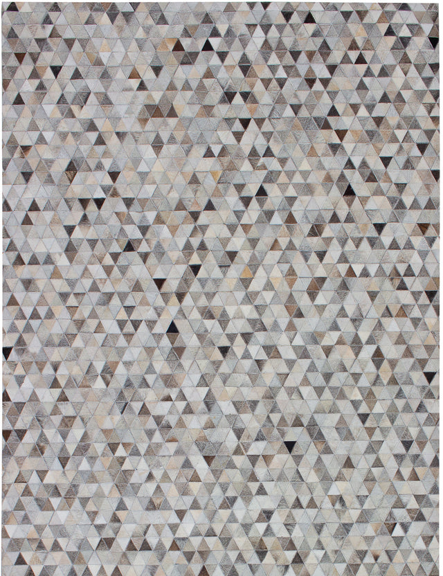 Handmade  Accent  Southwestern Cowhide-Patchwork Area rug  Grey 5.2 x 8.1