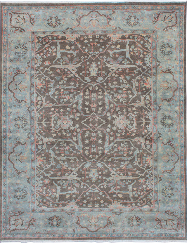 Hand-knotted Area rug Bohemian, Bordered, Traditional Grey, Multi