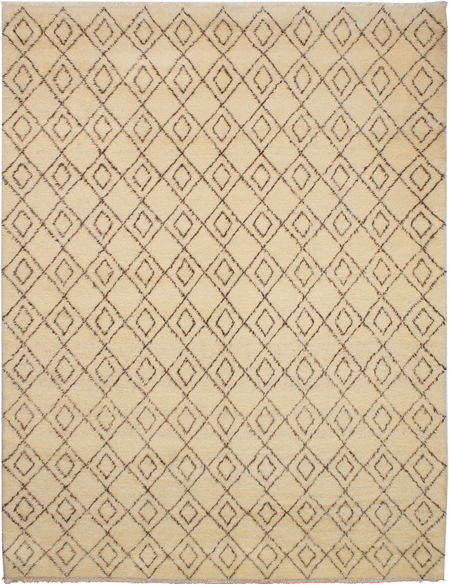 Hand-knotted moroccan Moroccan  Transitional Royal-Maroc Area rug  Cream 9.2 x 11.1