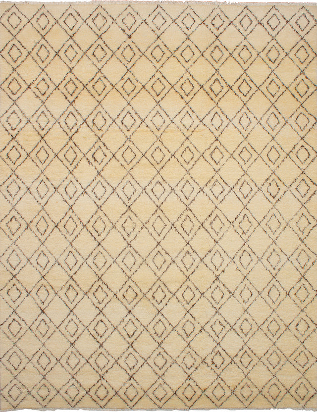 Hand-knotted moroccan Moroccan  Transitional Royal-Maroc Area rug  Cream 9.3 x 11.11