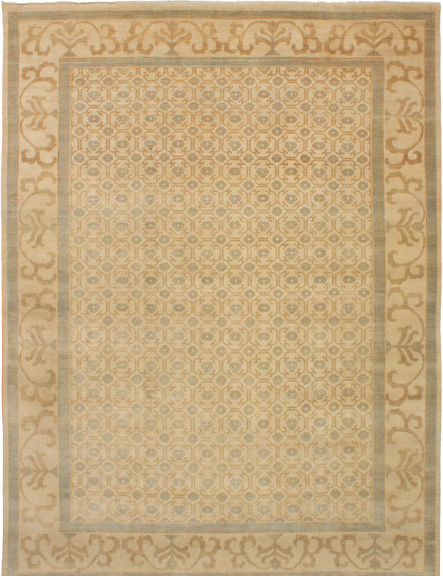 Hand-knotted Indian Bordered  Traditional Elysee-Finest-Ushak Area rug  Cream 9.3 x 12.4