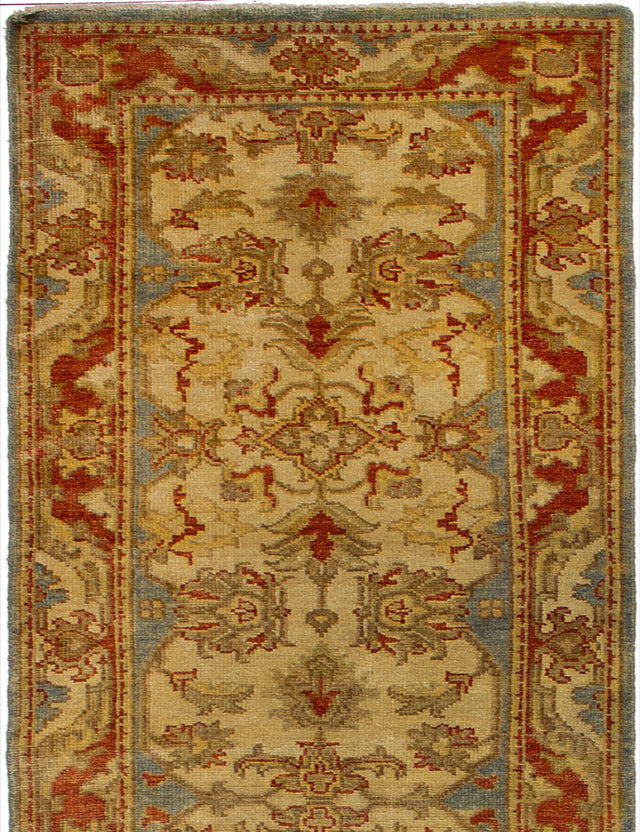 Hand-knotted Indian Bohemian  Traditional Royal-Ushak Runner rug  Cream 2.1 x 19.1