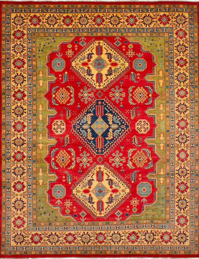 Hand-knotted Afghan Bordered  Traditional Finest-Gazni Area rug  Red 9.11 x 12.5