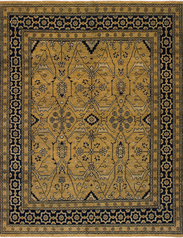 Hand-Knotted Area rug Bohemian, Bordered, Traditional Blue, Ivory
