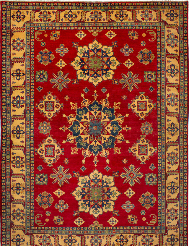 Hand-knotted Afghan Bordered  Traditional Finest-Gazni Area rug  Red 10.3 x 13.8