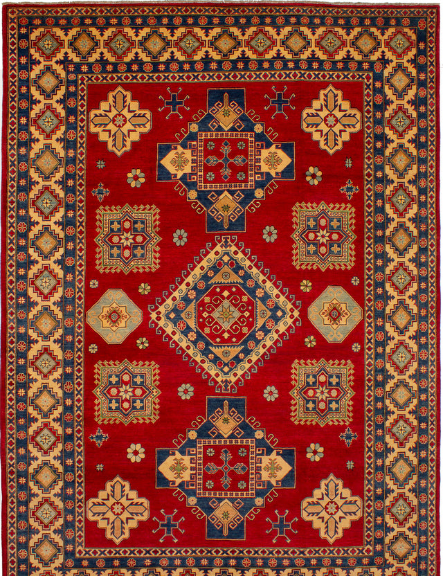 Hand-knotted Afghan Bordered  Traditional Finest-Gazni Area rug  Red 8.8 x 12.5