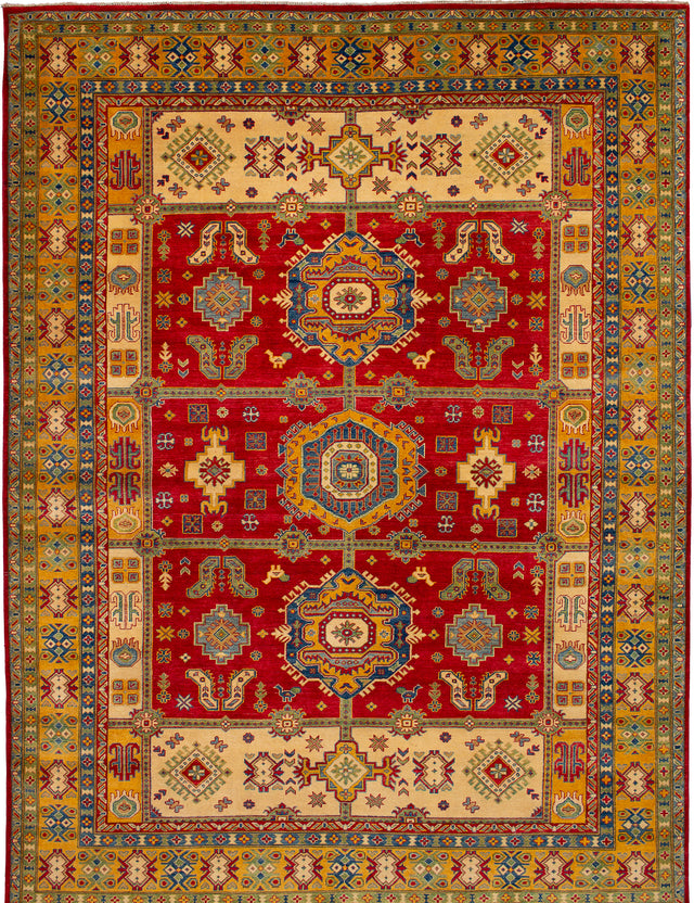 Hand-knotted Afghan Bordered  Traditional Finest-Gazni Area rug  Red 8.1 x 12