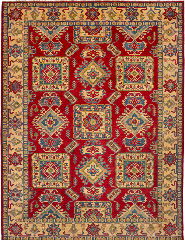 Hand-knotted Afghan Bordered  Traditional Finest-Gazni Area rug  Red 8.11 x 11.9