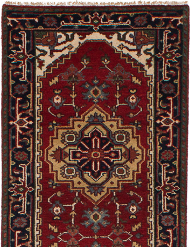 Hand-knotted Indian Bordered  Traditional Serapi-Heritage Runner rug  Red 2.7 x 19.1