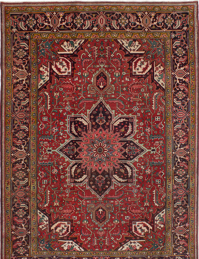 Hand-knotted  Bordered  Traditional Heriz Area rug  Red 7.8 x 10.1