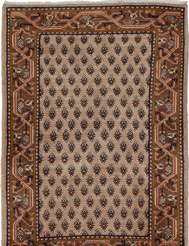 Hand-knotted Indian Bordered  Traditional Royal-Mahal Area rug  Cream 1.11 x 2.11