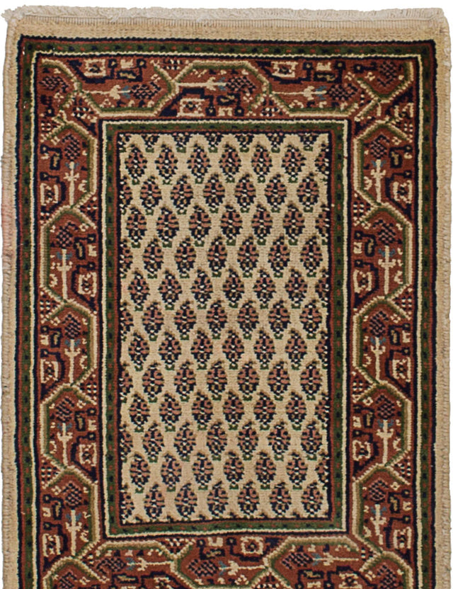 Hand-knotted Indian Bordered  Traditional Royal-Mahal Area rug  Cream 1.7 x 2.4