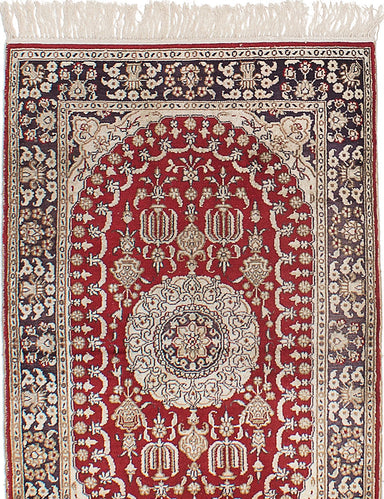 Hand-knotted Chinese Bordered  Traditional 400L-Silk Area rug  Red 2.6 x 3.11