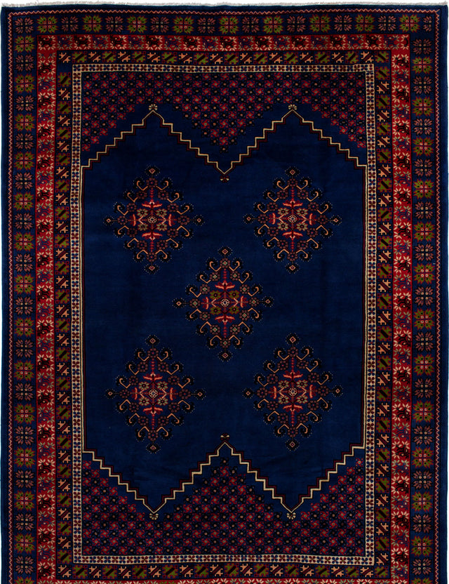Hand-knotted moroccan Bordered  Traditional Royal-Maroc Area rug  Blue 6.6 x 9.1