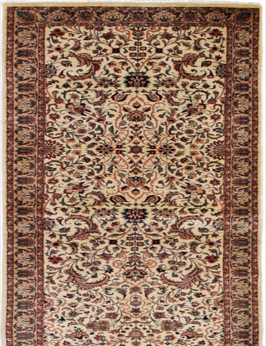 Hand-knotted Pakistani Bordered  Traditional Pako-Persian-18/20 Runner rug  Cream 2.5 x 11.1