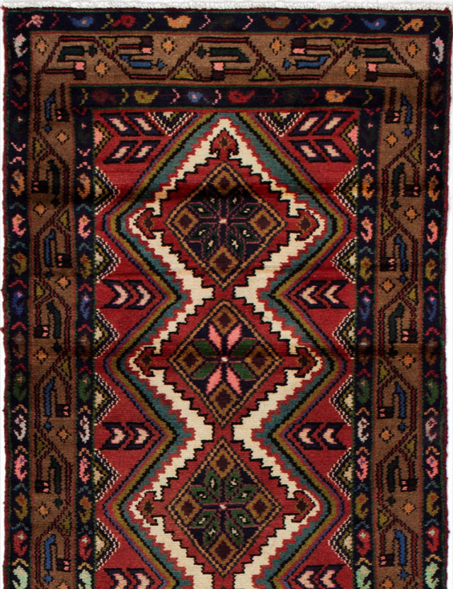 Hand-knotted  Bordered  Persian Darjazin Runner rug  Brown, Dark Copper 2.6 x 9.1