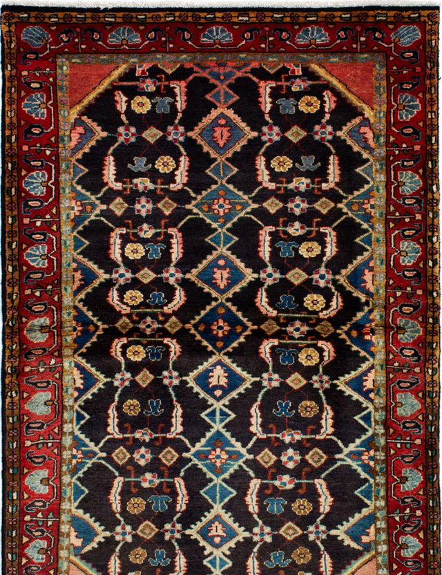 Hand-knotted  Bordered  Vintage Persian-Vintage Area rug  Dark Navy 3.6 x 5.7
