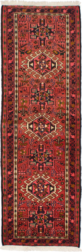 Hand-knotted Area rug Bordered, Geometric, Persian Red