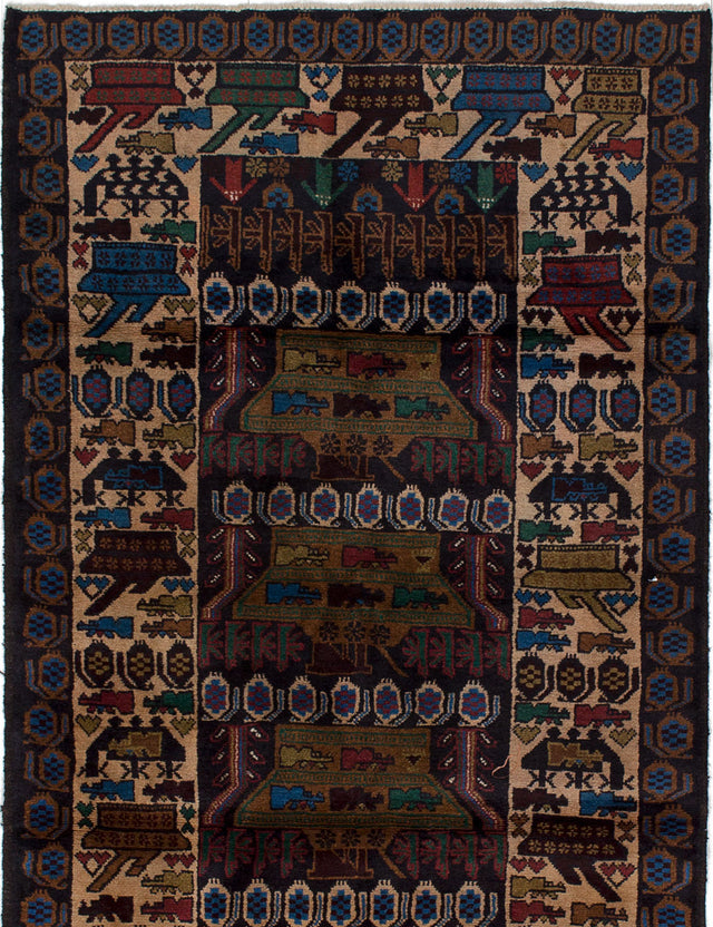Hand-knotted Area rug Bordered, Tribal Blue, Ivory