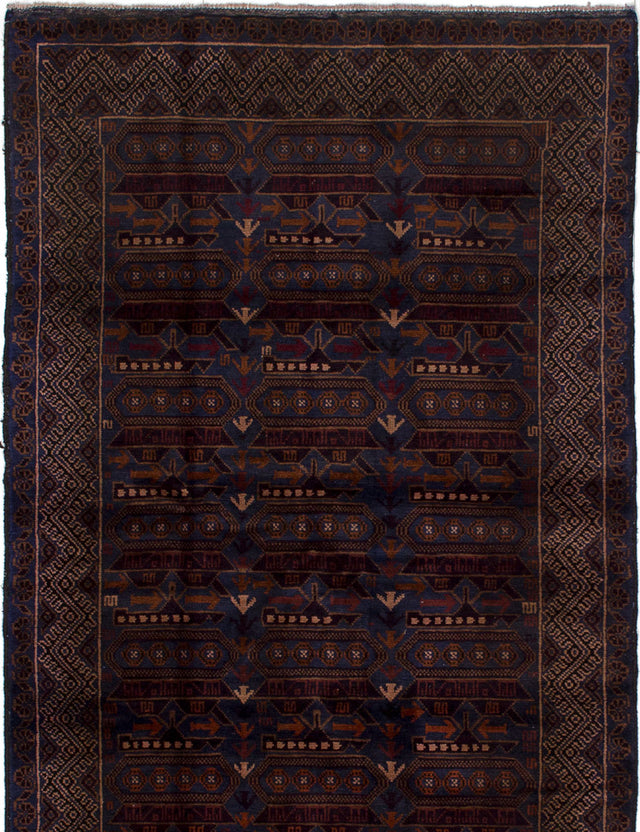 Hand-knotted Area rug Bordered, Tribal Blue, Brown
