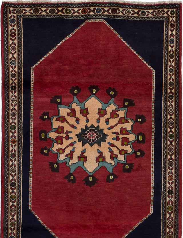 Hand-knotted  Braided  Tribal Kashkuli-Gabbeh Area rug  Red 3.8 x 5.7