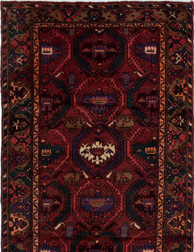 Hand-knotted  Bordered  Persian Hamadan Area rug  Dark Red 4.3 x 6.11