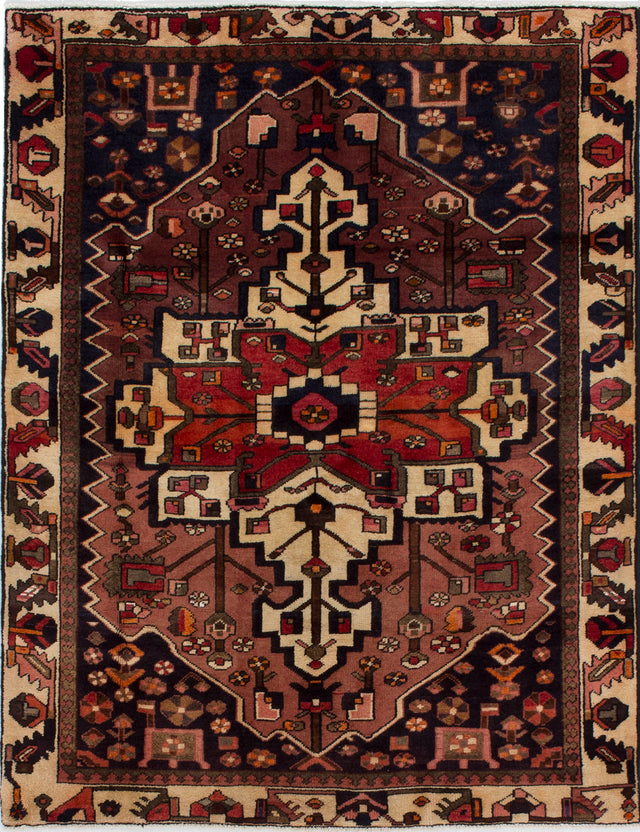Hand-knotted  Bordered  Traditional Bakhtiar Area rug  Copper 4.1 x 6.2