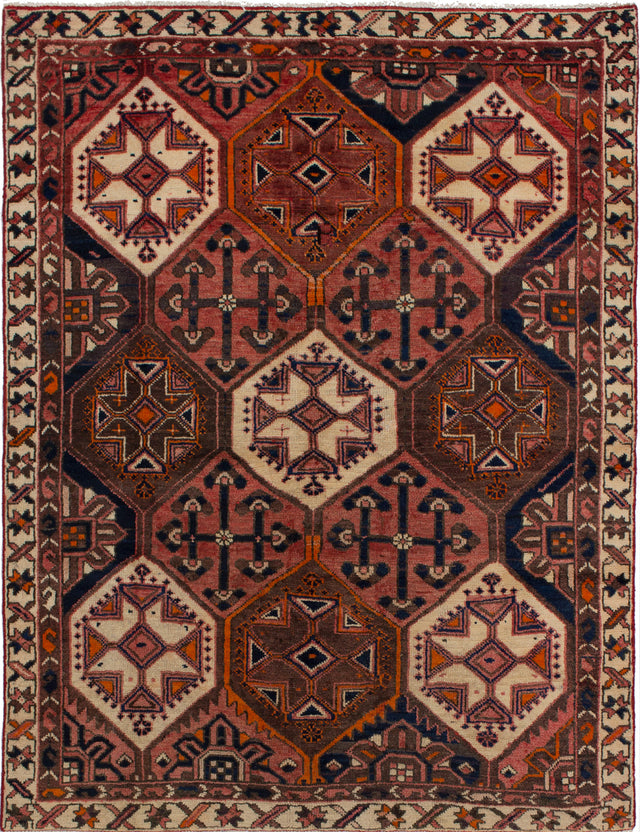 Hand-knotted  Bordered  Traditional Bakhtiar Area rug  Dark Copper 5.1 x 6.8