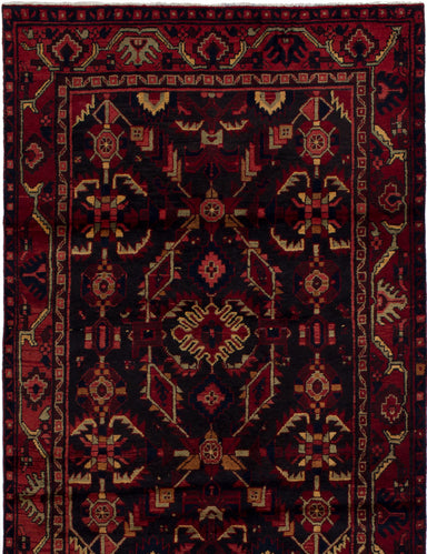 Hand-knotted  Bordered  Traditional Hamadan Area rug  Dark Navy, Dark Red 4.4 x 6.9