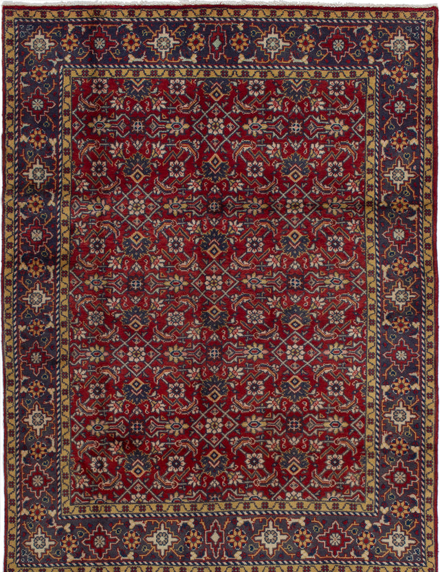 Hand-knotted  Bordered  Traditional Arak Area rug  Red 5.1 x 6.9